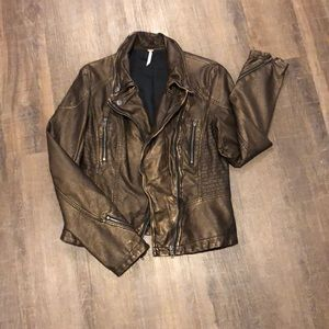 Free People brown Vegan leather jacket